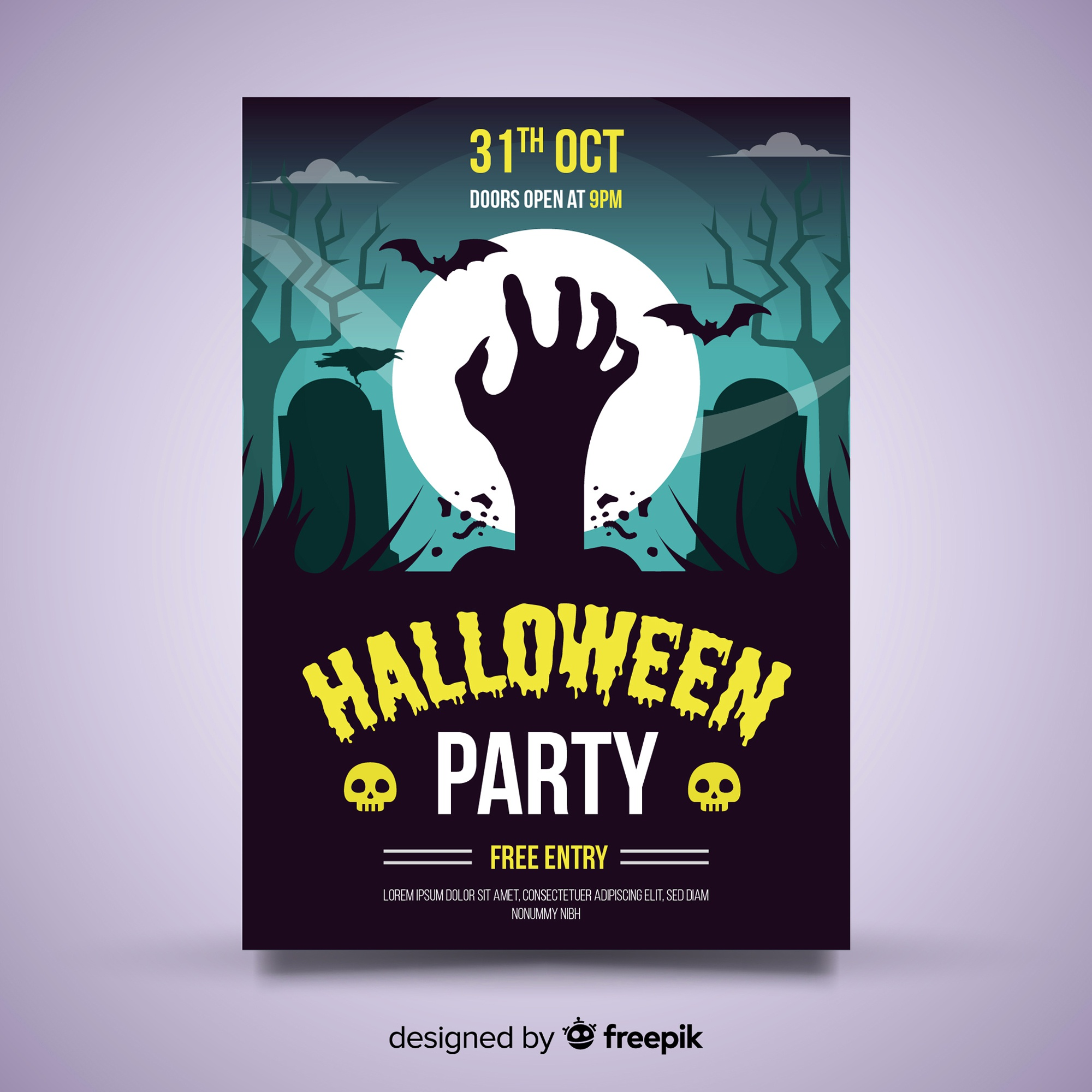 Original halloween party poster template with flat design