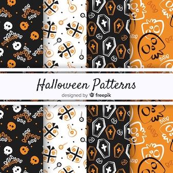 빈티지 스타일의 원래 할로윈 패턴 컬렉션