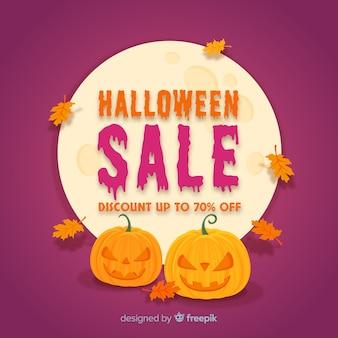 Original halloween sale composition with flat design