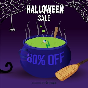 Original halloween sale composition with flat design