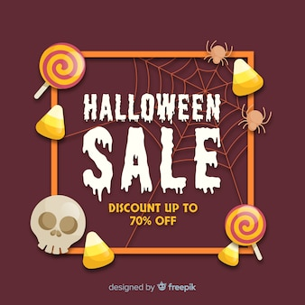 Original halloween sale composition with realistic design