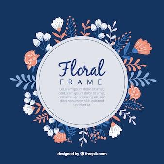 Original hand drawn floral frame