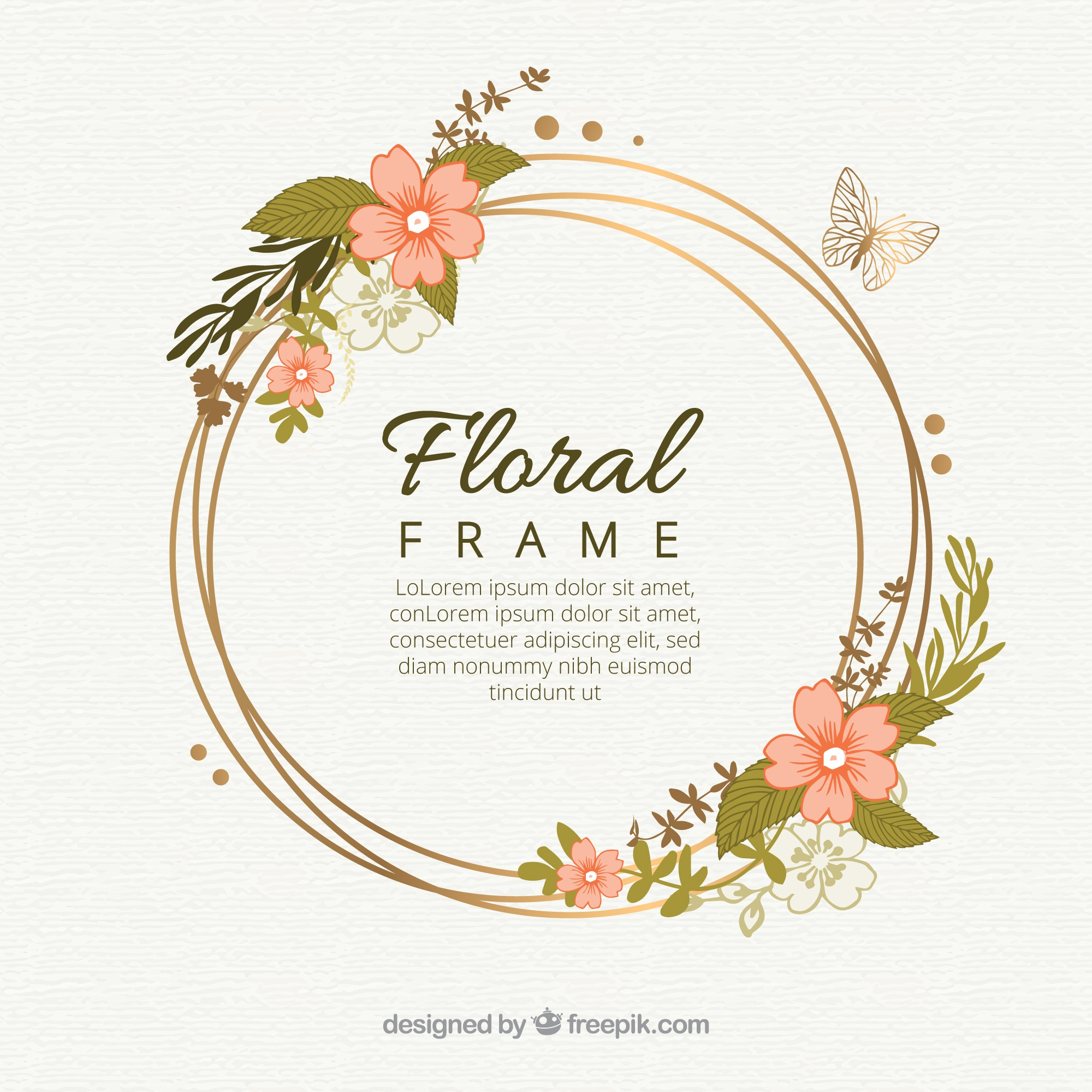 Original hand drawn floral frame