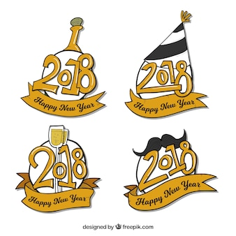 Original hand drawn new year 2018 badge collection