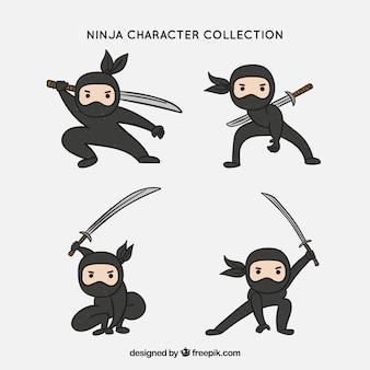 Collezione di personaggi ninja disegnati a mano originali
