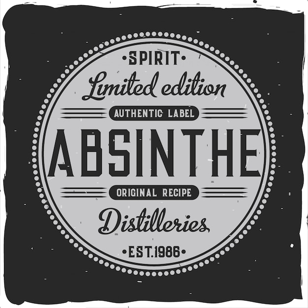 Original handcrafted absinthe label in strong style