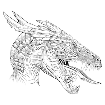 Original illustration of a monster dragon head in a vintage retro engraving style