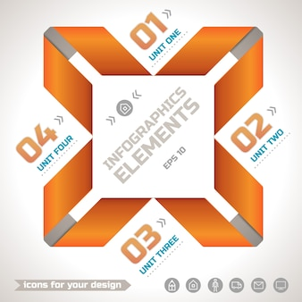 Original infographics geometric template with orange paper twisted ribbons