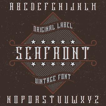 Original label typeface called