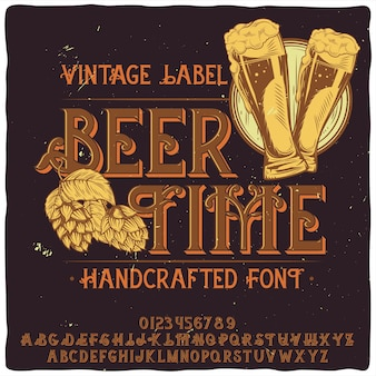 「beertime」という名前のオリジナルラベル書体