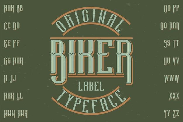 Оригинальный шрифт этикетки «байкер». подходит для любого дизайна этикеток.