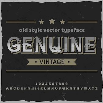 Carattere tipografico dell'etichetta originale denominato