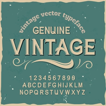 Оригинальный шрифт этикетки с названием «genuine vintage». хороший ручной шрифт для любого дизайна этикеток.