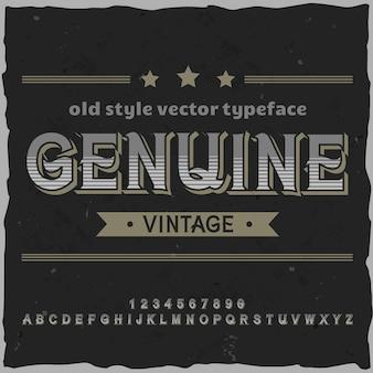 「genuinevintage」という名前のオリジナルラベル書体。あらゆるラベルデザインに適した手作りフォント。