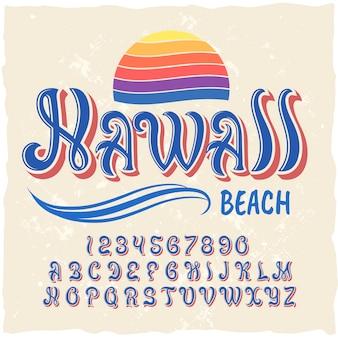 Оригинальный шрифт этикетки с названием «гавайи».
