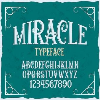 Оригинальный шрифт этикетки «чудо». Бесплатные векторы