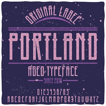 Original label typeface named