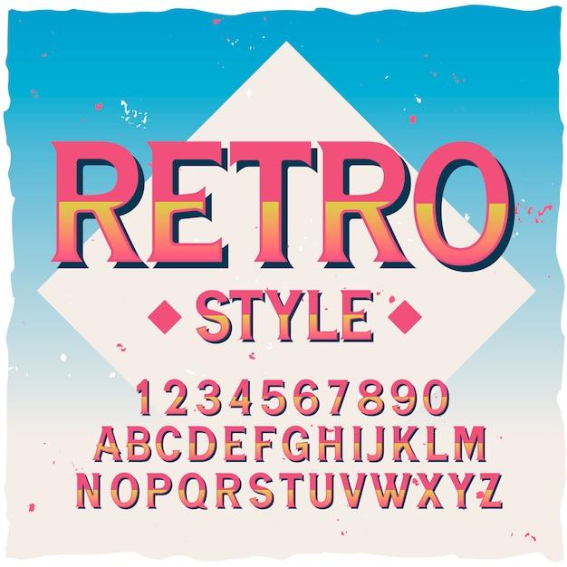 「レトロ」という名前のオリジナルラベル書体。あらゆるラベルデザインに適した手作りフォント。