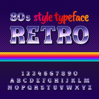 Original label typeface named retro with 80's style