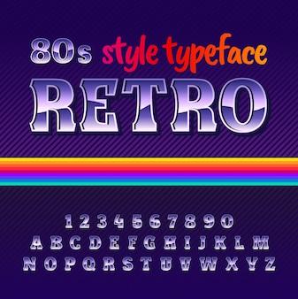 Carattere tipografico etichetta originale denominato retro con stile anni '80