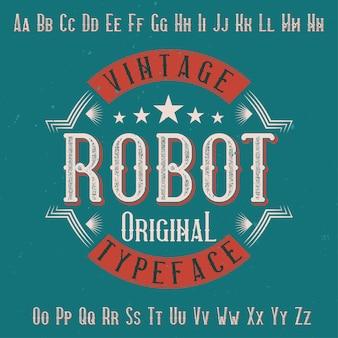 Оригинальный шрифт этикеток с названием «робот». подходит для любого дизайна этикеток.