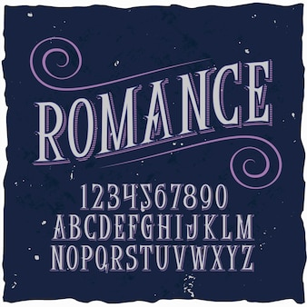 Оригинальный шрифт этикетки - «романтика».