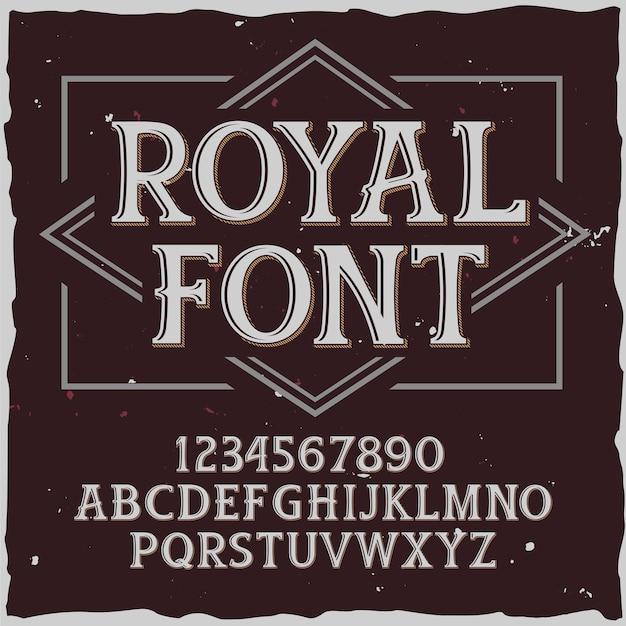 「royal」という名前のオリジナルラベル書体。あらゆるラベルデザインに適した手作りフォント。