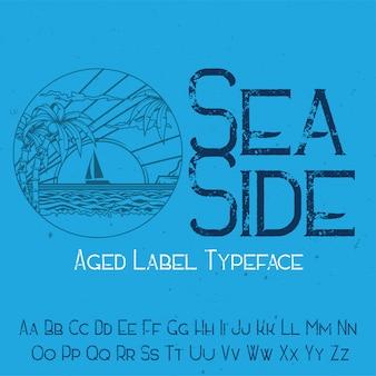 「seaside」という名前の元のラベルタイプフェース。あらゆるラベルデザインで使用できます。