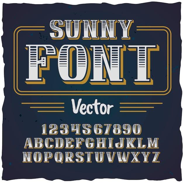 「sunny」という名前のオリジナルラベル書体。あらゆるラベルデザインに適した手作りフォント。