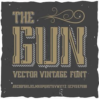Оригинальный шрифт этикетки под названием «пистолет».