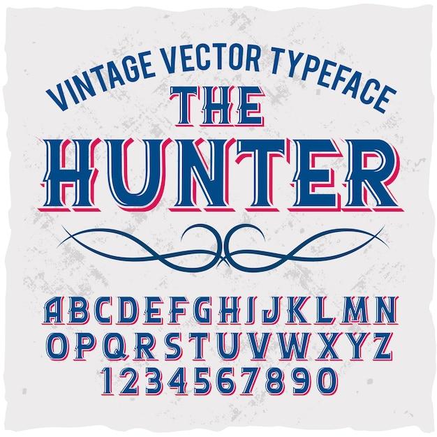 「thehunter」という名前のオリジナルラベル書体。