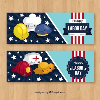 Original labor day banners with flat design