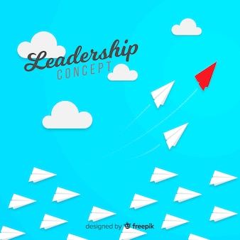 Original leadership composition with paper planes