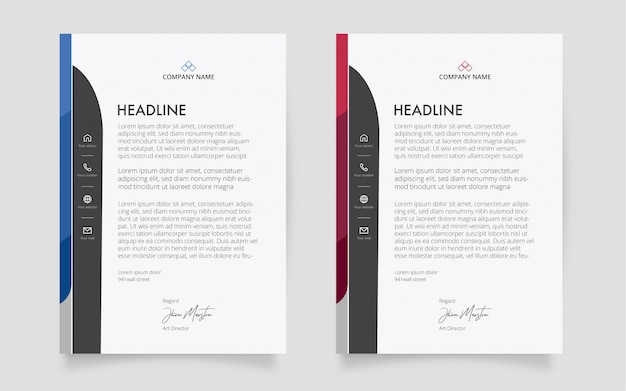 Original letterhead template with abstract shapes