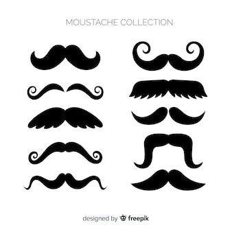 Original moustache collection with flat design