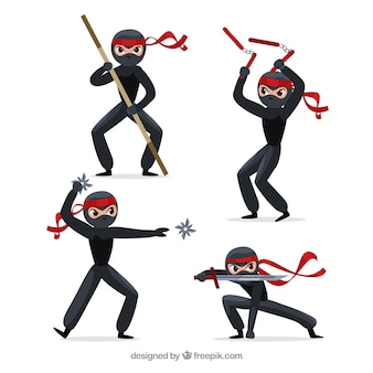 Original ninja character collection with flat design
