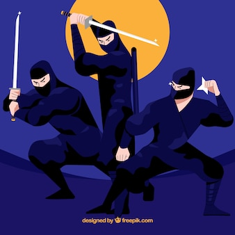 Original ninja character collection with flat design
