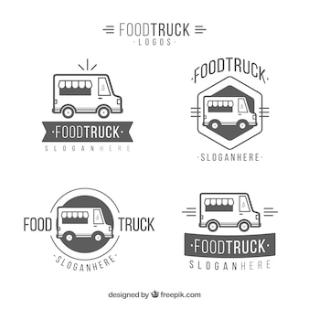우아한 음식 트럭 로고의 원래 팩