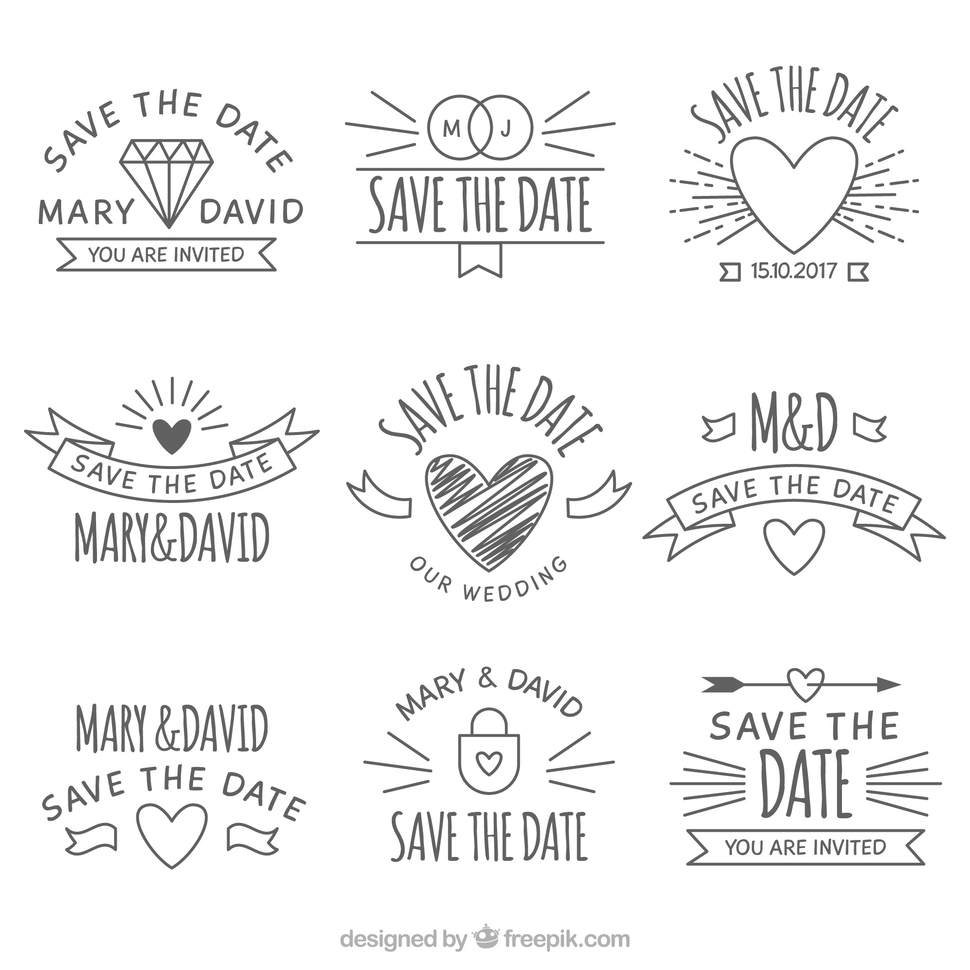 Original pack of hand drawn wedding labels