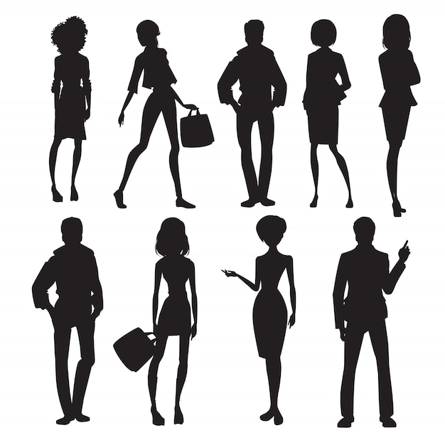 Original people silhouettes set