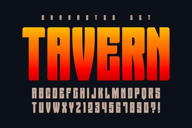 Оригинальный ретро-алфавит, сжатые буквы и цифры.