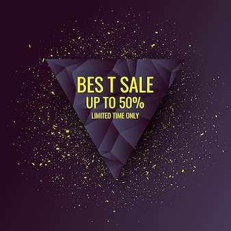 Original sale poster for discount. abstract polygonal background. low poly design. vector illustration