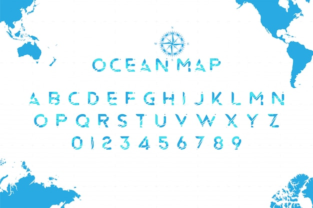 Original sea font in the form of a world map with a retro compass