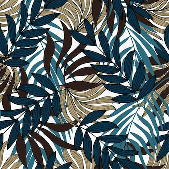 Original seamless background with tropical plants and leaves. exotic wallpaper.
