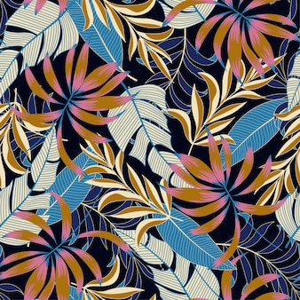 Original seamless tropical pattern with bright blue and pink flowers
