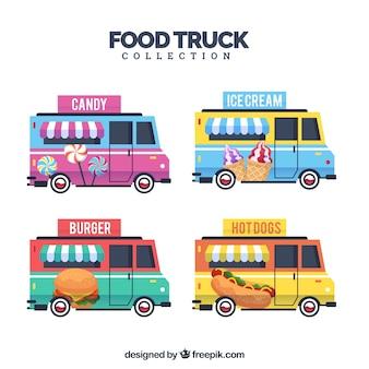 Original set of colorful food trucks