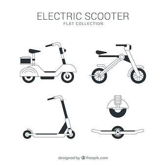 Оригинальный комплект электрических скутеров Бесплатные векторы