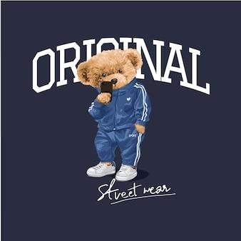 Оригинальный слоган уличной одежды с мультяшной куклой-медведем в спортивном костюме, делающей селфи