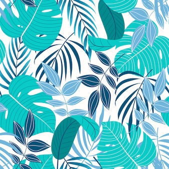 Original tropical seamless pattern with turquoise leaves and plants on a light background