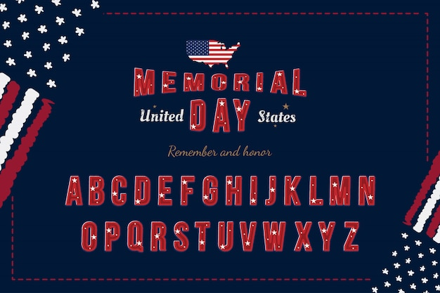 Original usa font with flag and map for memorial day